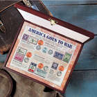 America Goes to War Coins and Stamps Wooden Display Case