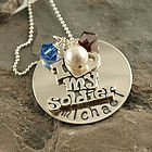 Personalized I Love My Soldier Hand Stamped Necklace