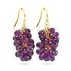 18K Gold Amethyst Briolette Earrings