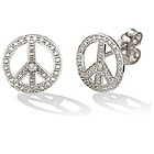 14k White Gold Diamond Peace Sign Stud Earrings