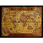 World Leather Map in Natural