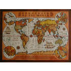 "World Map 40""x30"" Leather Tapestry in Color"