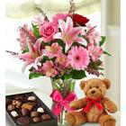 Valentine Surprise Bouquet, Bear and Chocolates