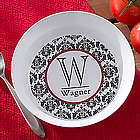 Personalized Damask Family Name and Initial Melamine Bowl
