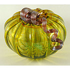 Autumn Green Glass Pumpkin