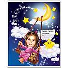 Little Star Girl's Caricature from Photo Print