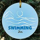 Swimming Personalized Ceramic Ornament