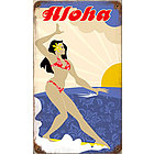 Aloha Surfer Metal Sign
