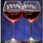 Personalized Grape Vine Design Crystal Wine Glass Set
