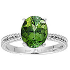 Green Tourmaline Ring in 14K White Gold