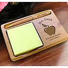 Personalized Teacher's Apple Wooden Notepad & Pen Holder