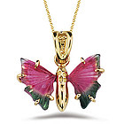 Pink & Green Tourmaline Butterfly Pendant in 18K Yellow Gold