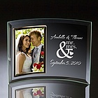 Mr & Mrs Curved Glass Vertical Photo Frame