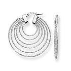 14K White Gold Geometric Curve Earrings