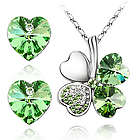 Lucky Sweethearts 18K Gold Plated Swarovski Earrings and Necklace