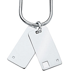Silver Diamond Double Tag Pendant for Men