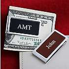 Leather Chrome Plated Money Clip