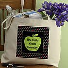 Teacher's Green Apple Personalized Tote Bag