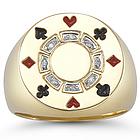 Diamond Poker Chip Ring in 14K Yellow Gold