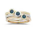Blue Diamond Stack Band in 14K Gold