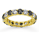 Black and White Diamond 18K Yellow Gold Eternity Band