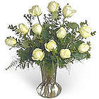 White Rose Sympathy Bouquet with Vase