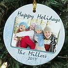 Personalized Photo Happy Holidays Ceramic Ornament