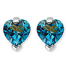 London Blue Topaz Heart Stud Earrings in 14K White Gold