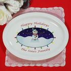 Personalized Ceramic Snowman Platter