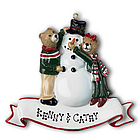 Bears Building Snowman Personalized Christmas Ornament