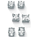 Cubic Zirconia Platinum Over Sterling Silver Earring Set