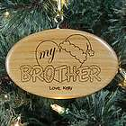 Engraved Heart My Brother Wooden Oval Ornament