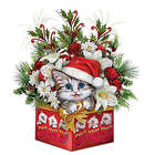 Cat Art Christmas Floral Centerpiece