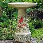 Summer Cardinal Birdbath