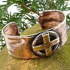 Celtic Sun Cross Rustic Copper Cuff Unisex Bracelet