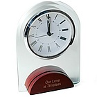 Glass Alarm Clock with Wood Base