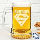 Superman Personalized Deep Etch Beer Mug