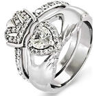 Sterling Silver Claddagh Engagement Ring Set