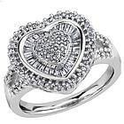 Sterling Silver Round & Tapered Baguette Diamond Heart Ring