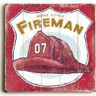 """Brave Little Fireman 18"""" Vintage Sign"""