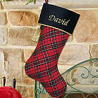 Embroidered Black and Red Plaid Christmas Stocking