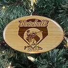 Engraved Baseball Wooden Oval Ornament
