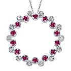 Diamond & Ruby Circle Pendant in 14K White Gold