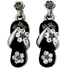 Black Crystal Flower Strap Earring in White Gold Plate