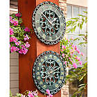 "14"" Copper Verdigris Outdoor Clock & Thermometer Duo"