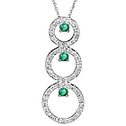 Diamond & Emerald Trio-Circle Pendant