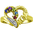 Personalized Mom Birthstone Heart Ring in Yellow Gold