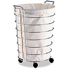 Rolling Chrome Laundry Hamper