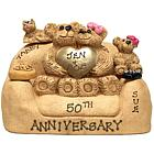 Personalized Golden Heart Couple and Kid Bears in Loveseat