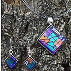Neon Nights Dichroic Glass Earrings and Necklace
